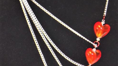 Asymmetrical Red Heart Necklace With Silver Chain