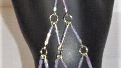 Silver Memory Wire, White & Lavender Beaded Slave Bracelet