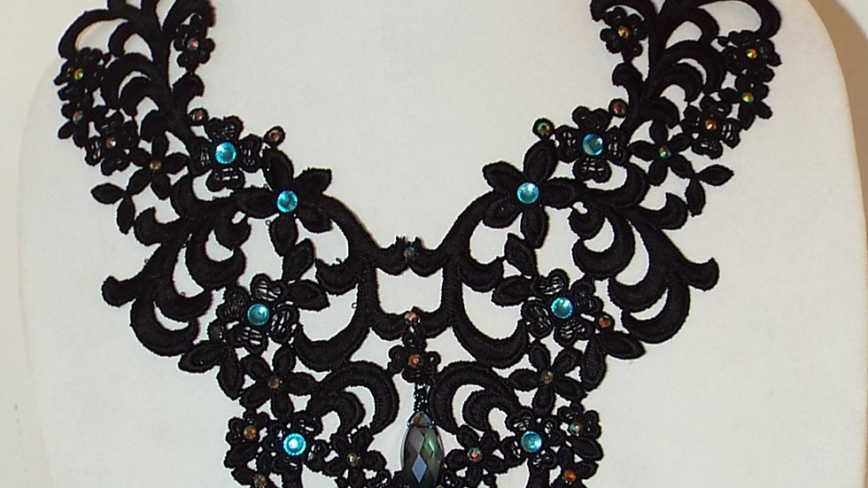 Black Lace Necklace With Blue Rhinestones and Oval Pendant