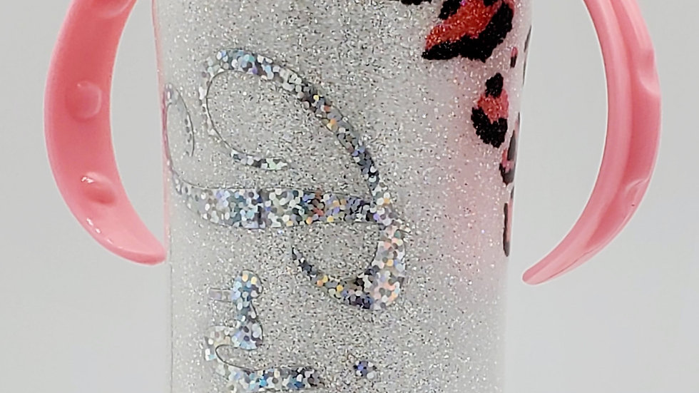 8oz Pink Leopard Princess Double Walled Stainless Steel Baby Bottle