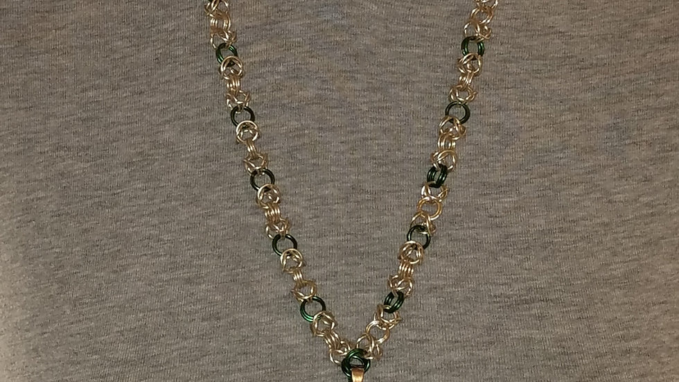 Green Lantern Pendant on Silver 7& Green Chainmail