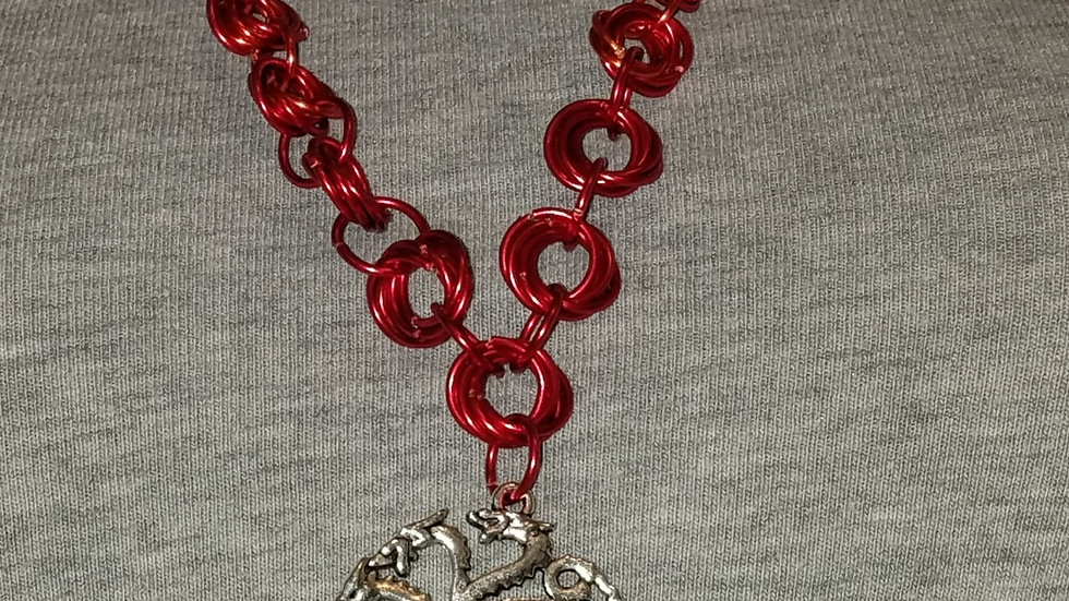 Daenery's Triple Dragons Pendant with Fire Chainmail