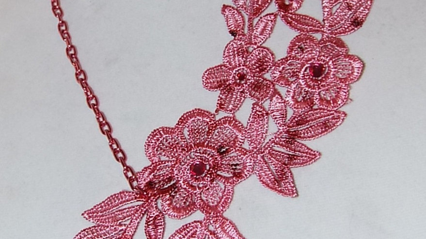 Asymmetrical Red Dyed Lace Necklace With Red Rhinestones and Red Chain