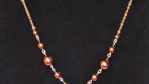 """Y"" Necklace With Copper Pearls"