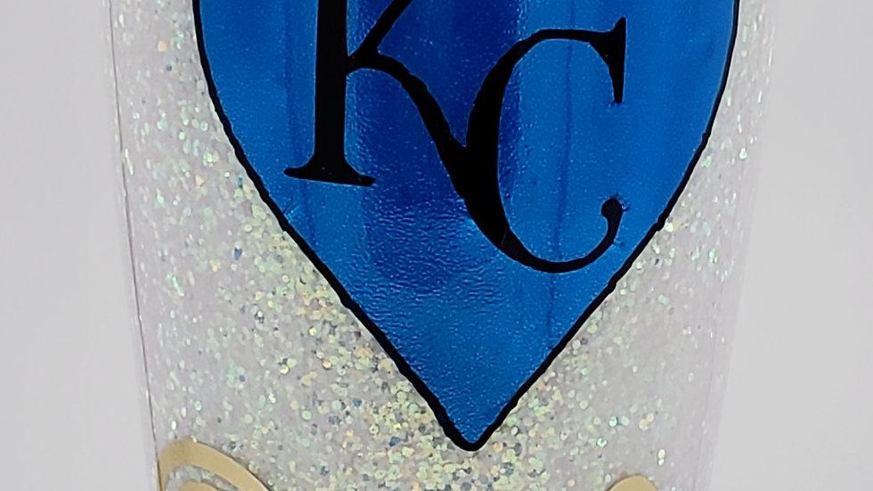 20 oz. KC Royals Baseball UV Reactive-Blue Double Walled Stainless Steel Tumbler