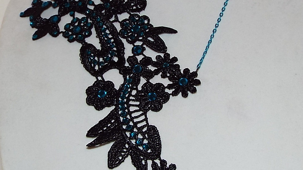 Asymmetrical Black Lace Necklace With Blue Rhinestones and Tear Drop Pendant