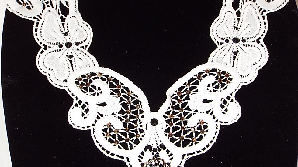 White Lace Necklace With Black Stones