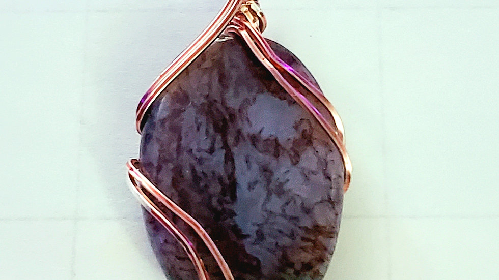 Purple Moss Agate Wrapped in Rose Gold Wire