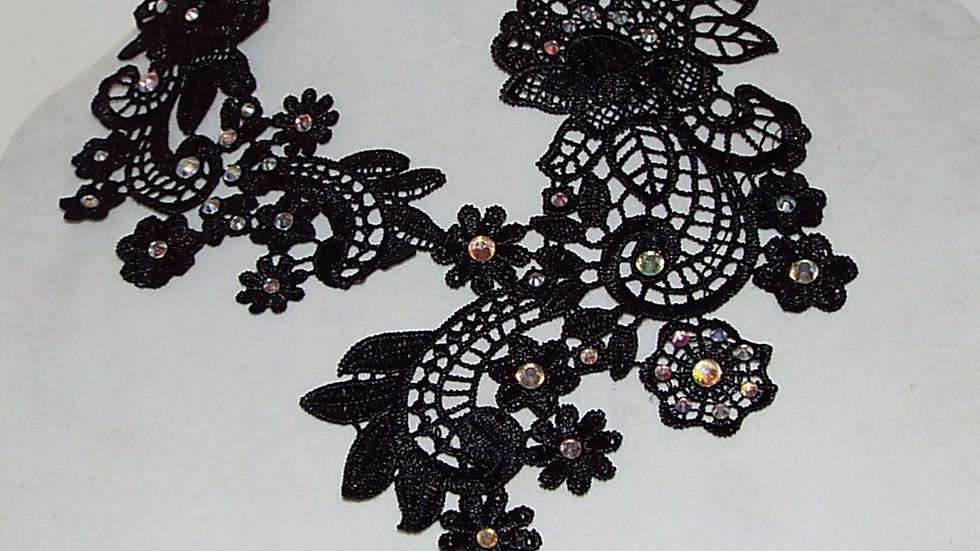 Asymmetrical Black Lace Necklace with Iridescent Stones