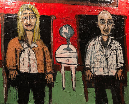 """Artist, Educator, Erica Lindberg and Web guru Thomas Mitchell Sitting in My Leather Chairs 