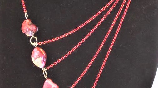 Asymmetrical Pink Natural Stone Necklace With Pink Chain