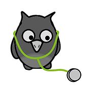 Cartoon owl with stethoscope