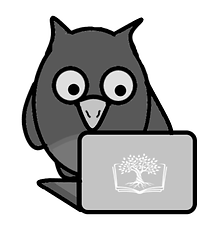 Cartoon owl and laptop ith Words and Indexes logo