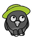 Cartoon owl with safari hat and binoculars