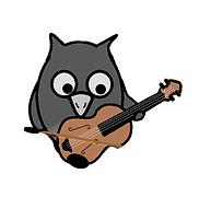 Cartoon owl playing violin
