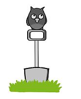Cartoon owl sitting on gardening spade