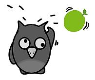 Cartoon owl with apple bouncing off head