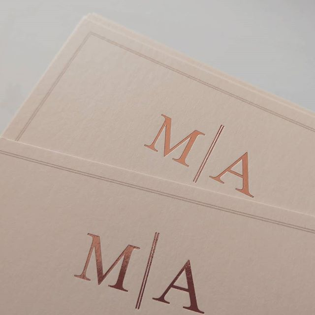 rose gold monogram invitation