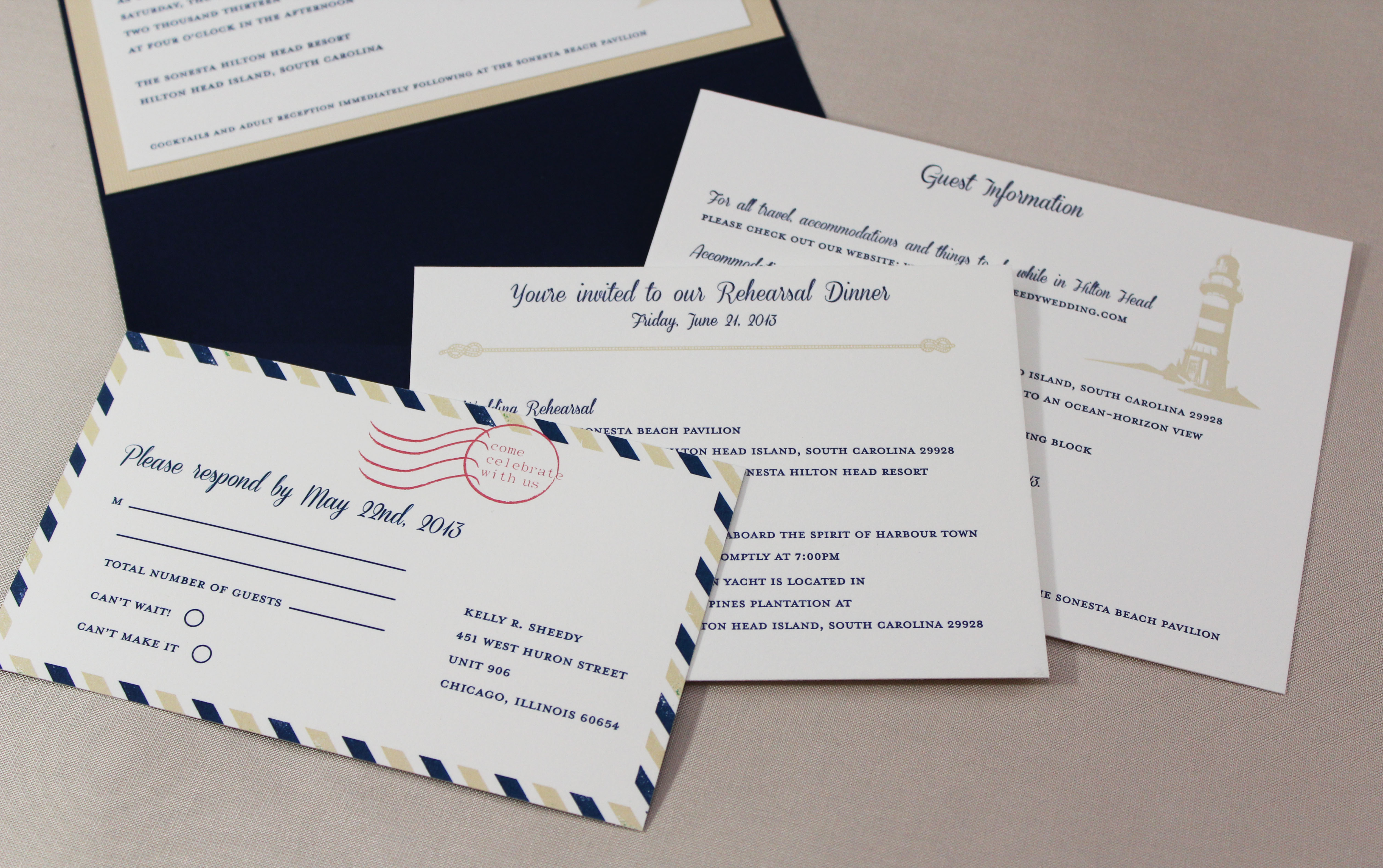 Hilton Head wedding invitation