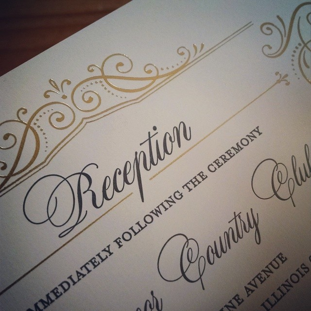 gold foil reception card