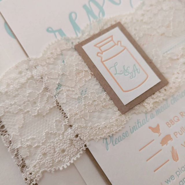 letterpress and lace invitations