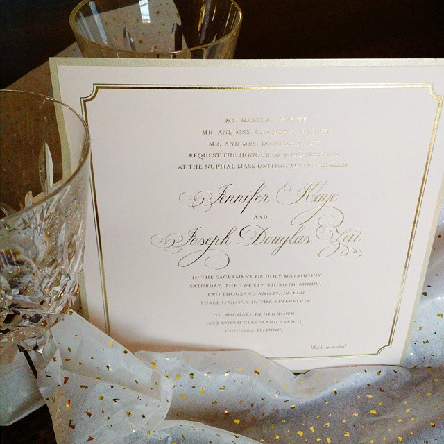 gold foil and blush invitation