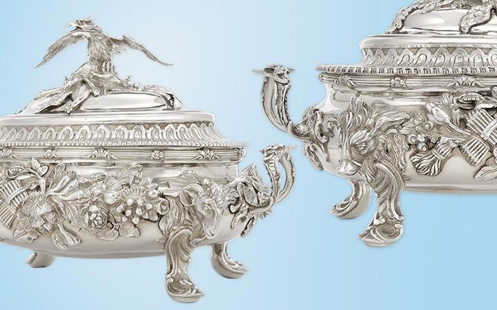 Pair of George II/III Sterling Silver Covered Soup Tureens