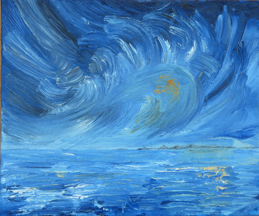 OIL ON BOARD  A sister painting to 'Storm out at sea' the view of that same storm from the coast. A swirl of vapour and mositure gets whipped up and muched around battering the rocks in the far distance.   CLICK BELOW TO BUY