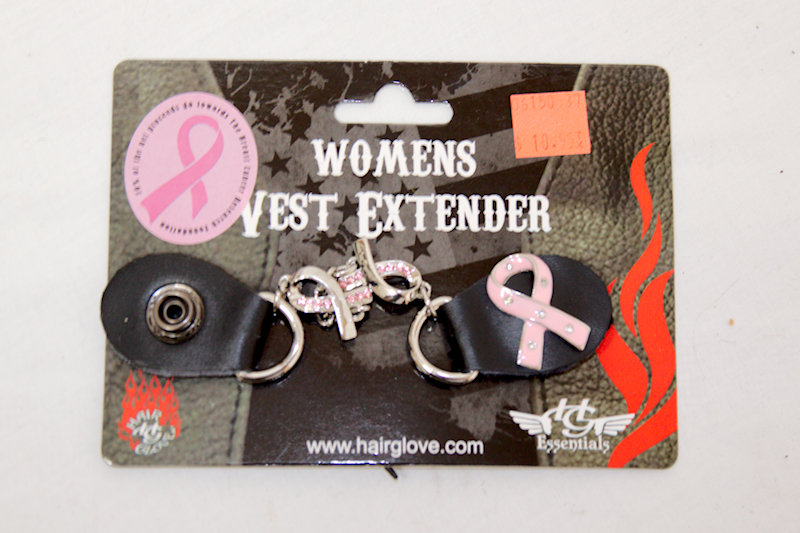 Breast Cancer Ribbon Leath/Chain Vest Extender