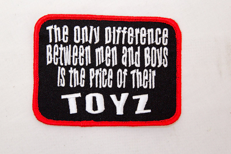"""Men and Boys Toys"" Sew/iron on patch"