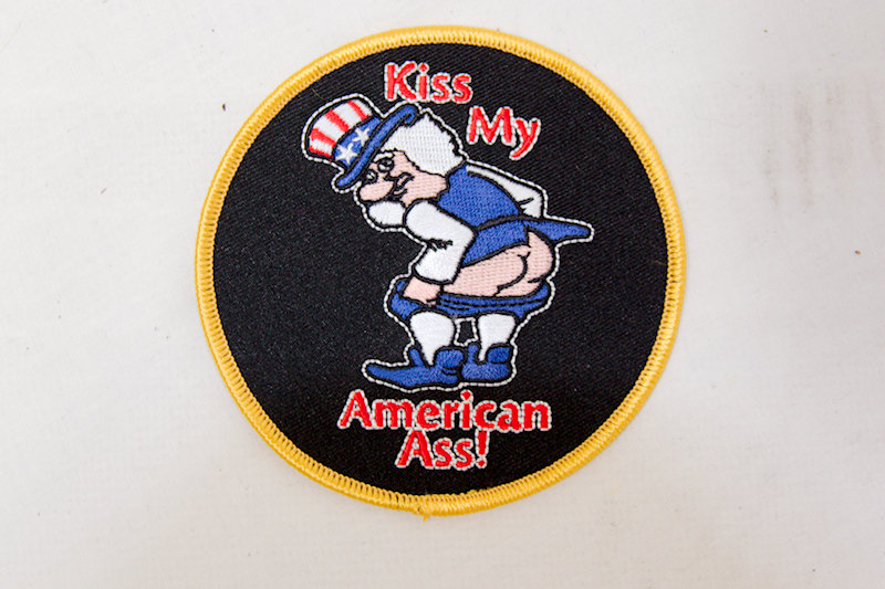 """Kiss my American"" Sew/Iron on patch"
