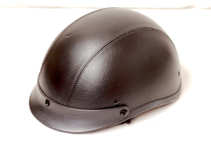 Small Black Leather Half Helmet. Dot Cert