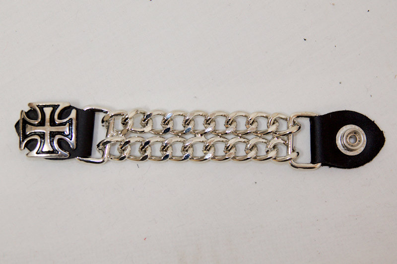 Silver Iron Cross Leather and chain Vest Extender