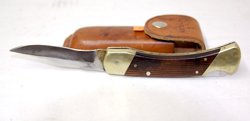 Used USA Schrade+ LB7 w/ Leather Sheath