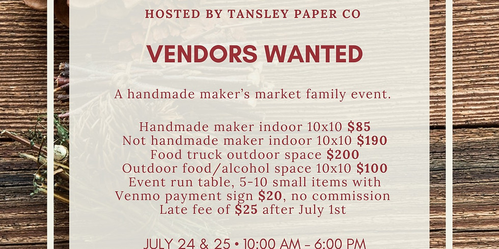 Christmas in July   Vendors Wanted