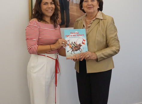 Presenting New Book To Her Excellency, Mrs. Ella Tromp-Yarzagaray, Acting Governor of Aruba