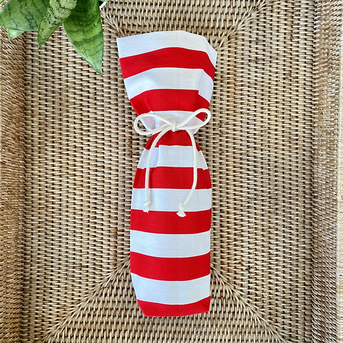Wine Bottle Gift Bag - Red + White