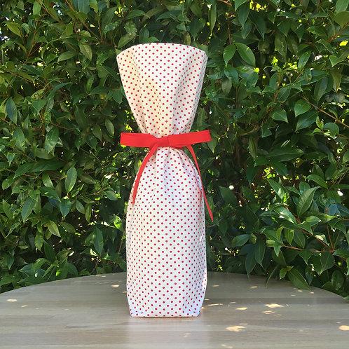 Wine Bottle Gift Bag - Red Polka