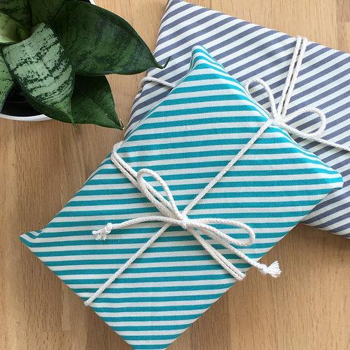 Aqua Stripe + Grey Stripe