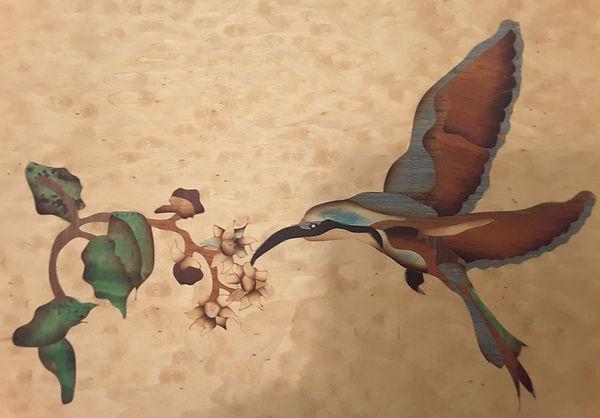 Hummingbird marquetry