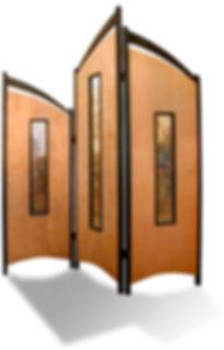 Tri Fold privacy screen, Curly Maple