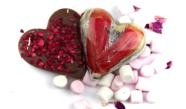 Handmade Milk Chocolate Heart Raspberry
