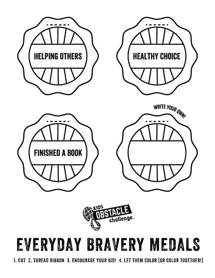 Kids Obstacle Challenge Everyday Bravery Medal DIY Printout - encourage your kids!