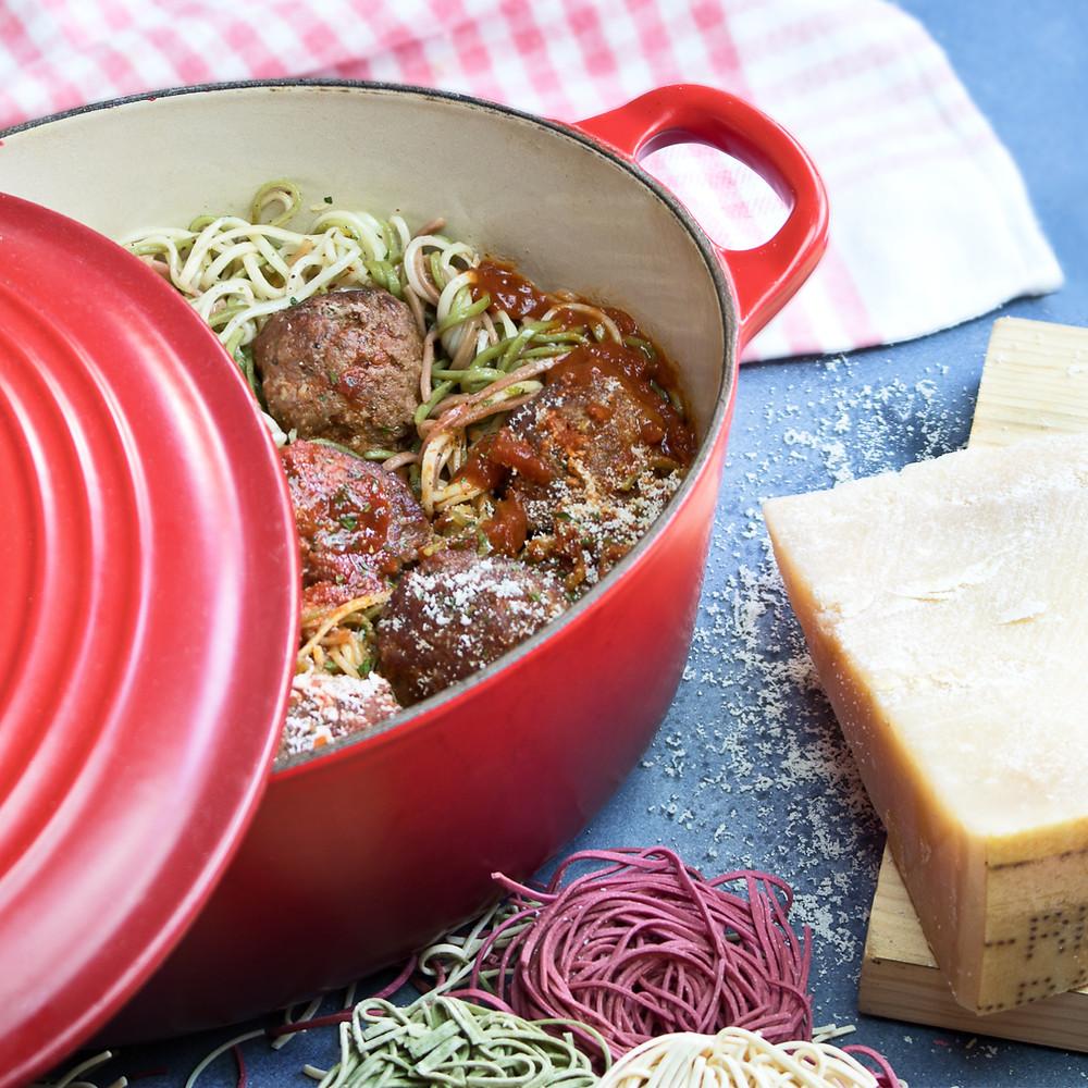 Tagliolini Los Lositos con albondigas de carne