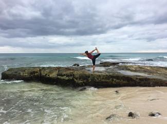 yoga beach fun
