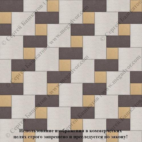 Квадрат Кирпич Вставка (белый, коричневый, жёлтый)