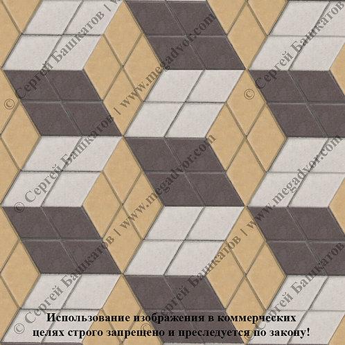 Ромб 3D Макси (коричневый, жёлтый, белый)