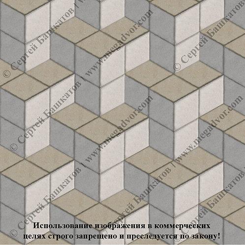Ромб Куб в кубе (серый, белый, хаки)