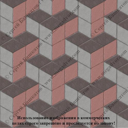 Ромб Куб в кубе (серый, красный, коричневый)