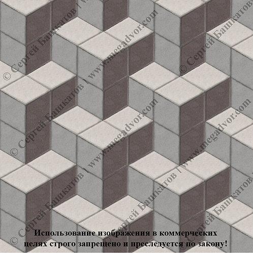 Ромб Куб в кубе (серый, коричневый, белый)